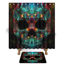 WLIARLEO Colorful Shower Curtain 3D Skull head shower curtains Waterproof Mildew Resistant bathroom curtain Combine Bath Curtain