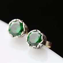 Ecoworld Ge hand set zircon jewelry wholesale Green Thai Tremella nail anti allergy retro 925 Sterling Silver Earrings(China)