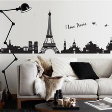 I love paris wall sticker eiffel tower home decor black adhesive france paris decal landscape mural large removable vinyl ay7199(China)