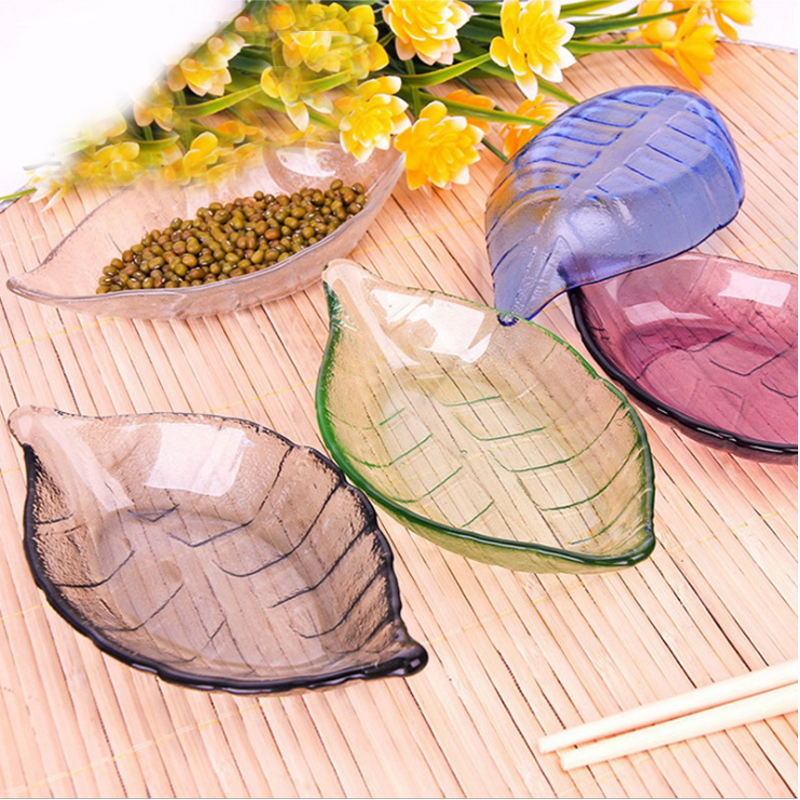 Colorful Leaves Shape Glass Bowls Kitchen Dishes Simple And Exquisite Glittering And Translucent(China)