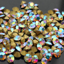 Clear AB Czech Crystal Rhinestones shinys small size  Round Pointed Foiled Back DIY Faceted Decoration ss1 to ss16