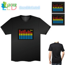 Sound Activated LED T Shirt Light Up Flashing Fashion Rave EL LED T-Shirt Men for Rock Disco Party DJ