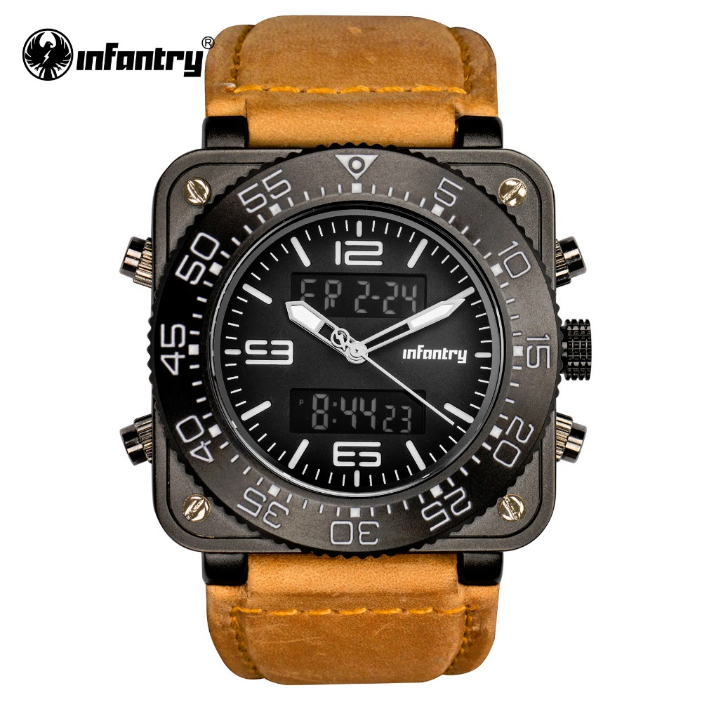 INFANTRY Mens Watches Relojes Hombre 2017 Digital Watch Military Leather Strap Dual Time Quartz Watches Waterproof Male Clock<br>