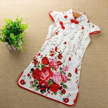 2017 spring baby flower lace cheongsam girls princess chinese style qipao short sleeve a line girl red party wedding dress