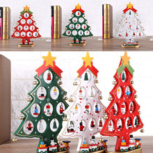 DIY Cartoon Wooden Artificial Christmas Tree Table Decorations Party Christmas Gift S/M/L(China)