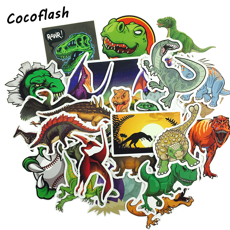 50Pcs Dinosaur Sticker Cartoon Animal Educational Toys Stickers for Laptop Skateboard Motorcycle  Waterproof Toy Stickers