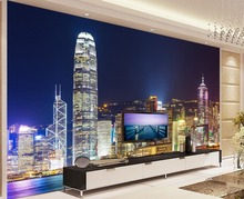 3d wallpaper Bright lights Hong Kong night view living room background wall photo 3d wallpaper customized wallpaper for walls