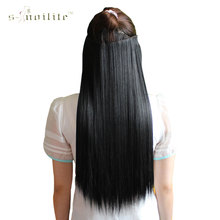 SNOILITE Synthetic Long Straight Hair Extensions One Piece Half Full Head Hairpiece Clip in Hair Piece 23inch & 26inch