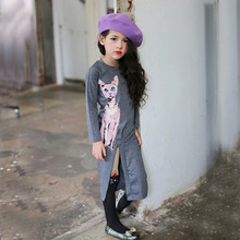 Long Style Cotton Girls Dresses New Fall Children Fancy Dress Cartoon Cats Design