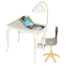 Hot Sale Plastic 4pcs/Set Office Accessory Table Chair PC Lamp for 29cm Dolls Play Set For Girl Gift Miniature Furniture Toys(China)