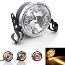"Black 28-34mm Motorcycle Head Light Holder& 8"" Amber Beam Motorbike Headlight Turn Signal Lamp For Harley-Davidson #5108_3367*2"