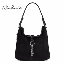2017 Fashion Women Split Leather Shoulder Bag Female Suede Casual Crossbody handbag Casual Lady Messenger Hobo Top-handle Bags(China)