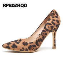 2017 Pumps Stiletto Pointed Toe Brown Leopard Print Small Size High Heels Sexy Shoes Women 33 Female 4 34 Suede Autumn Slip On(China)