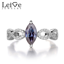 Leige Jewelry Alexandrite Ring Sterling Silver 925 Gemstone Jewelry Wedding Engagement Love Rings for Women Marquise Cut