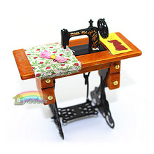 Free Shipping 1:12 Size Sewing Machine Miniature Dollhouse Accessories Sartorius furniture for Dolls DIY Dollhouse Model Kit