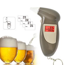 Free shipping Digital LCD Alcohol Breath Analyzer Breathalyzer Tester Keychain Audible Alert