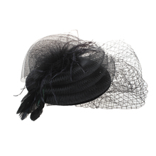 New Black Feather Organza Mesh Veil Hair Clip Fascinator Party Hot