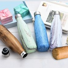 9 Color Vacuum Flask for water bicycle Stainless Steel Kettle Vacuum Marble Texture Flask Water Bottle for outdoor(China)