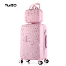 2 pcs/Set Beautiful 14-inch hello Kitty cosmetic bag 20 24 28inch students Travel luggage trolley case a woman rolling suitcase(China)