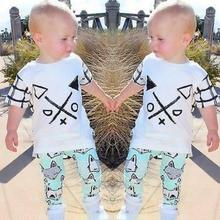 Discount Summer children set 1set Kid boys Short sleeve T-shirt +Long Pants Fox Printed Outfits Clothes