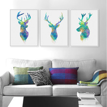 Deer Head Animal Minimalist Art Canvas Poster Print Watercolor Style Picture for Modern Home Living Room Wall Decoration FA036