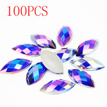 Hot Sale 100Pieces Flat Back Earth Facet Crystal deep purple AB Acrylic Horse eye Shape Rhinestone nail Decorate Nail art(China)
