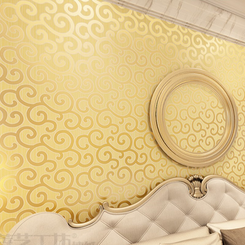 beibehang  Gold wallpapers golden clouds hotel bar KTV entertainment Internet cafes background ceiling European wallpaper<br>