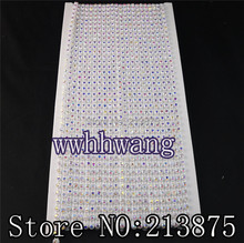 Free shipping 10Yards SS12 AAA Grade AB Crystal glass Rhinestones Banding Trim White Plastic chain bottom Wedding dresses(China)