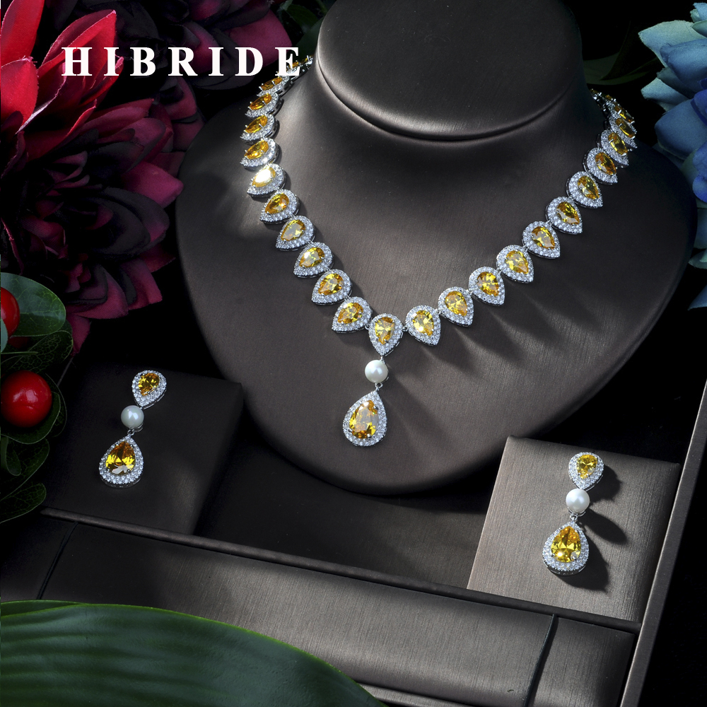 HIBRIDE Top New White Gold-color Exquisite Drop zirconia Wedding Party Gift Bridal Jewelry Sets for Women N-168