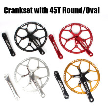 Ultra light 45T Round/Oval Chainring Folding Bike Square BMX Crankset with 130mm BCD 170MM AL60 Aluminum Crank Bicycle Parts(China)