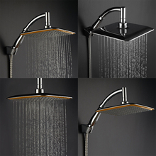 Large Square Shower Head ABS Chrome Water Rains Shower Head With Shower Extension Arm Bathroom Set Wall Mounted Shower Head
