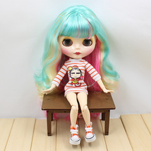 with bangs colorful hair Nude Blyth Doll doll is selling nude 230BL2369/313/4268  joint body yellow green pink hair wavy hair
