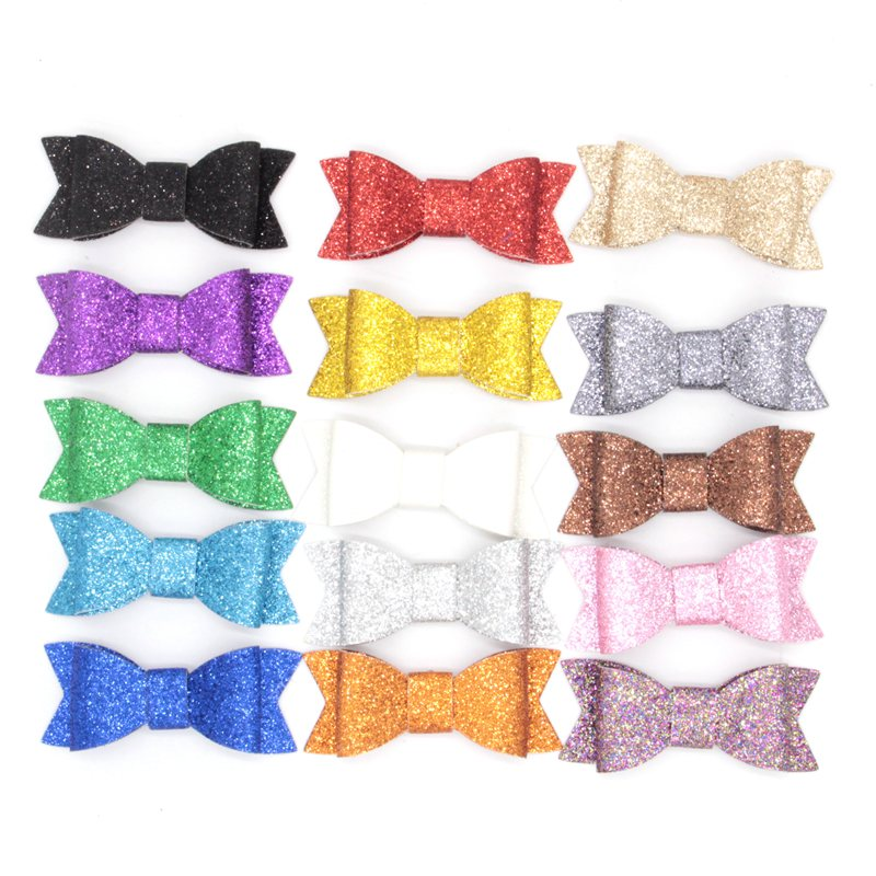 450pcs/lot 15 Colors Chic European 3 Glitter Leather Hair Bow Without Clip Glitter Felt Hair Flower Bowknot Baby Hair Accessory<br><br>Aliexpress