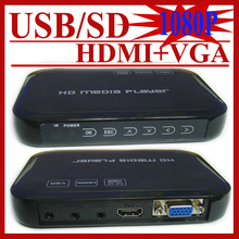Full HD 1080P USB External HDD Media Player with HDMI VGA SD MKV H.264 RMVB WMV,Support SD/MMC Card up to 32GB Free shipping!