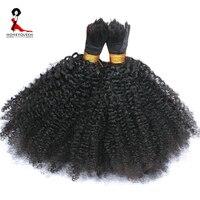 Human Braiding Hair Bulk No Weft Afro Kinky Curly Bulk Hair For Braiding Mongolian Remy Hair Crochet Braids Honey Queen Hair