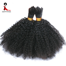 Human Braiding Hair Bulk No Weft Afro Kinky Curly Bulk Hair For Braiding Mongolian Remy Hair Crochet Braids Honey Queen Hair(China)