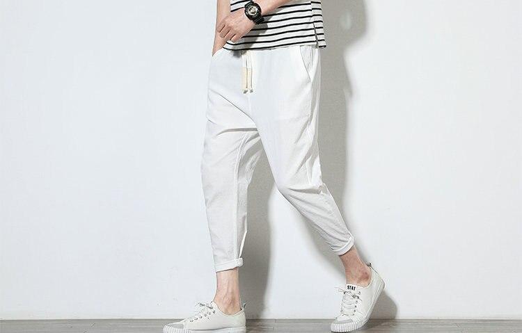 Cotton Linen Joggers White Men's Harem Pants 6