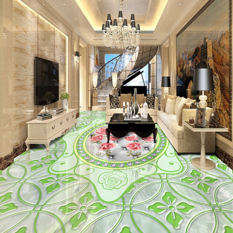 Free shipping wallpaper roll floor mural living room bedroom bathroom self-adhesive Marble embossed rose pattern 3D flooring<br>