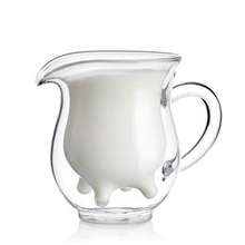 Transparent Creative Cow Milk Glass Mugs Double Layer Heat Resistant Water Bottle Beverage Cups