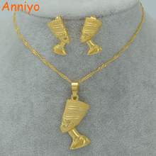 Anniyo Egyptian Queen Nefertiti Pendant Necklace & Earrings Sets Jewelry Gold Color Wholesale Gold Jewellery #010006