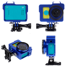 New Blue Aluminium Shockproof Xiaomi Yi Case Accessories Protective Alloy Frame + 40.5mm UV Filter + Lens cap for Xiaomi Camera(China)