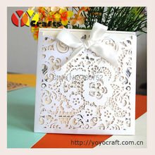 20pcs/lot Lace Ribbon Bow Wedding Invitation Card Vintage Laser cut White Hollow Flowers Blank Inside with Envelope Ideas