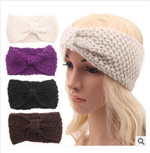women warm winter knit headwrap Bohemian silver ribbon crochet headband sweet corn ear women hair accessories