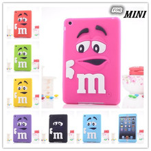 Free shipping new For apple ipad mini 1/2/3 case M&M's chocolate candy rubber soft silicone cartoon mini ipad case covers