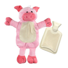 ZORASUN Lovely Hot Water Bottle with Detachable Soft Plush Animal Cover Piggy Zebra Bear Hand Warmer Water Filling Hot Water Bag(China)