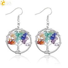 Buy CSJA Tree Life Women Drop Earrings Round Natural Chip Gem Stone Opal Tiger Eye White Crystal Dangle Hook Earring Jewelry E514 for $2.07 in AliExpress store