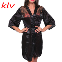 Buy KLV Women Sexy Perspective Lingerie Satin Lace Black Kimono Intimate Sleepwear Robe Sexy Night Gown Women Erotic Underwear