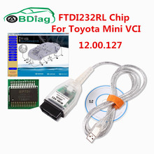 For Toyota MINI VCI J2534 TIS Techstream Newest V12.00.127 MINI VCI For Toyota With FTDE232RL Chip OBD2 Diagnostic Scanner