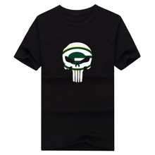 2017 New 100% Cotton green bay Punisher T-shirt funny packers fans skull T Shirt 0119-1(China)