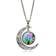 Beautiful Tree of Life Glass Cabochon Pendant Necklace handcrafted DIY Silver half moon Chain Necklace for Women Jewelry